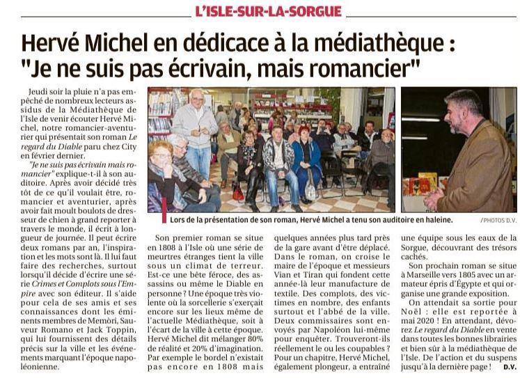 Article paru dans la Provence de novembre 2019 sur la conférence de Hervé Michel sur le Regard du diable, à la médiathèque de L'Isle-sur-la-Sorgue.