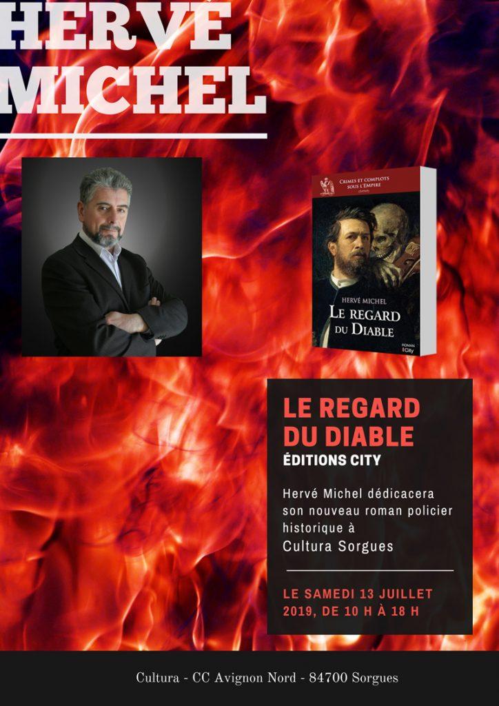 Affiche présentant la séance de dédicace pour le roman Policier Historique le Regard du Diable de Hervé Michel