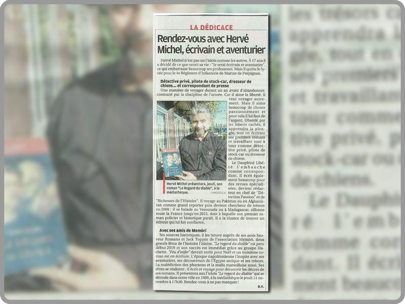 Article de Didier Vergne sur Hervé Michel, paru dans la Provence du 08 novembre 2019