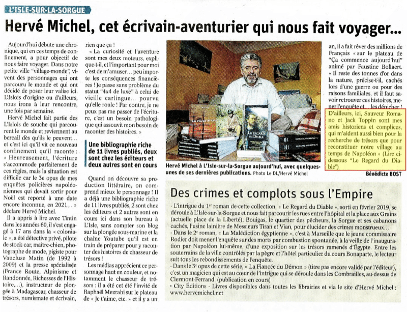 Hervé Michel écrivain, dans le Vaucluse matin du 24/11/2020