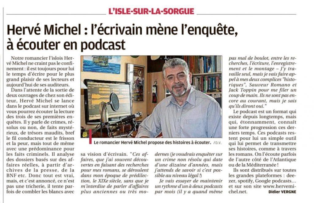 Article sur les podcasts de Hervé Michel, dans le journal la provence.